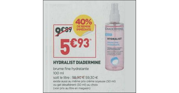 Bon Plan Brume Fine Hydralist Diadermine chez Simply Market - anti-crise.fr