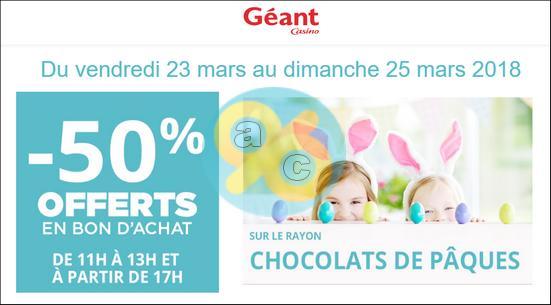Bon Plan Chocolats de Pâques : 50% chez Géant Casino avec Les Heures Géantes (23/03 - 25/03) - anti-crise.fr