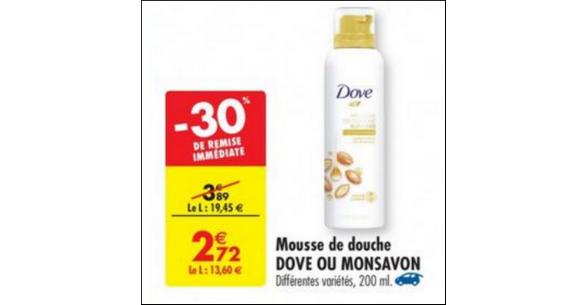Bon Plan Mousse de Douche Surgras Dove chez Carrefour - anti-crise.fr