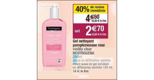 Bon Plan Soin Neutrogena Visibly Clear Pamplemousse Rose chez Cora - anti-crise.fr