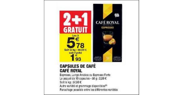 Bon Plan Capsules Café Royal pour Nespresso chez Carrefour Market - anti-crise.fr