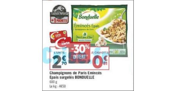 Bon Plan Champignons de Paris Emincés Bonduelle chez Géant Casino - anti-crise.fr