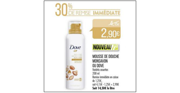 Bon Plan Mousse de Douche Surgras Dove chez Match (10/04 - 22/04) - anti-crise.fr