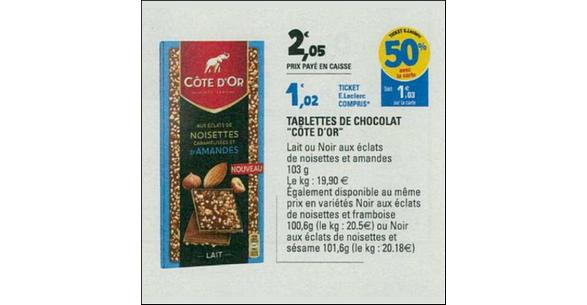 Bon Plan Tablette Côte d'Or Eclats chez Leclerc - anti-crise.fr