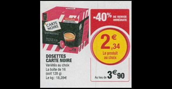 Bon Plan Capsules de Café Carte Noire Compatibles Dolce Gusto chez Hyper U (26/06 - 07/07) - anti-crise.fr