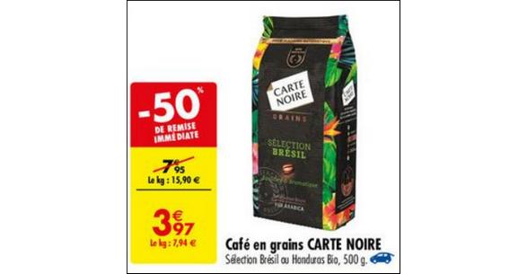 Bon Plan Café en Grains Brésil ou Honduras Carte Noire chez Carrefour - anti-crise.fr