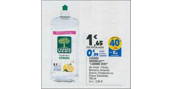 Bon Plan Liquide Vaisselle L'Arbre Vert chez Leclerc - anti-crise.fr