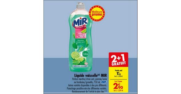 Bon Plan Liquide Vaisselle Mir chez Carrefour - anti-crise.fr