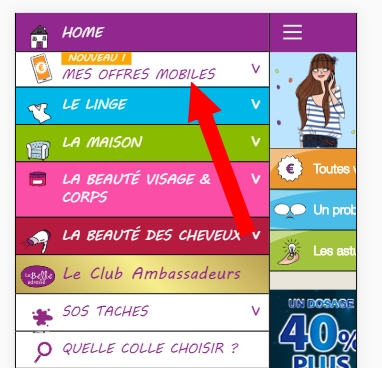 la belle adresse version mobile menu offres mobiles
