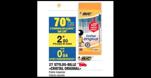 Bon Plan Stylos Bille Cristal Bic chez Carrefour Market (28/08 - 31/08) - anti-crise.fr