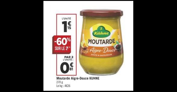 Bon Plan Moutarde Aigre-Douce Kühne chez Géant Casino (14/08 - 26/08) - anti-crise.fr