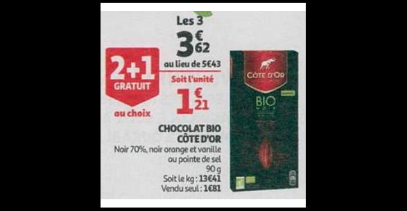 Bon Plan Tablette de Chocolat Noir Bio Côte D'Or chez Auchan (26/09 - 02/10)- anti-crise.fr