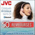 Offre de Remboursement JVC : Jusqu'à 50€ Remboursés sur Casque Arceau Bluetooth - anti-crise.fr