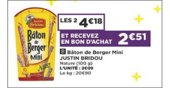 Bon Plan Bâton de Berger Justin Bridou chez Casino - anti-crise.fr