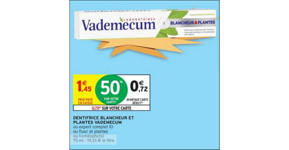 Bon Plan Dentifrice Vademecum chez Intermarché - anti-crise.fr