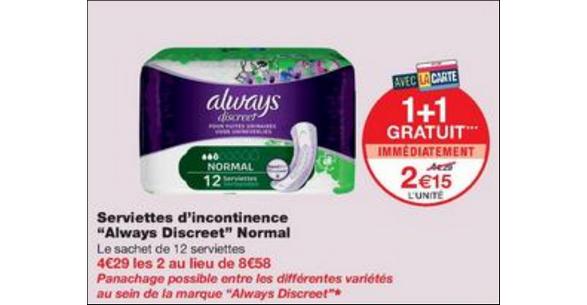 Bon Plan Serviettes Always Discreet chez Monoprix - anti-crise.fr