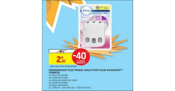 Bon Plan Désodorisant Electrique 3volution Febreze chez Intermarché - anti-crise.fr