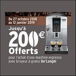 Offre de Remboursement De'Longhi : Jusqu'à 200€ Remboursés sur Machine Espresso avec Broyeur à Grains - anti-crise.fr