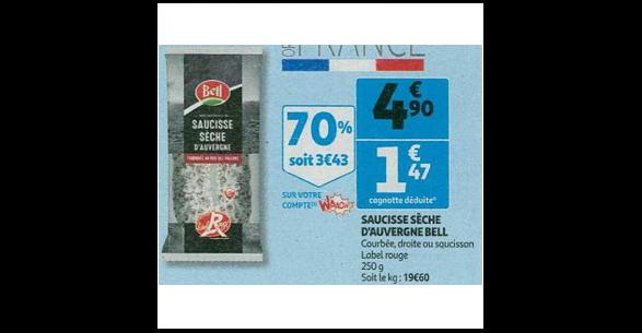 Bon Plan Saucisson ou Saucisse Sèche Bell chez Auchan (10/10 - 16/10) - anti-crise.fr