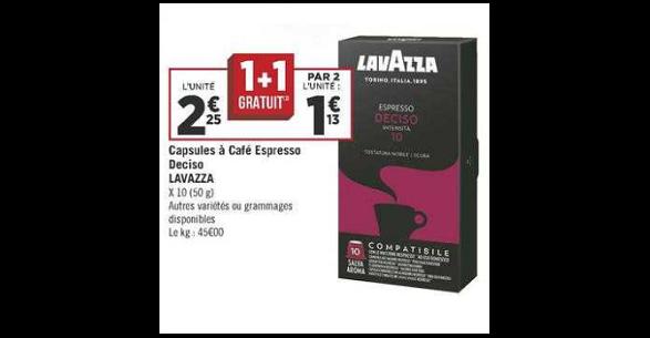 Bon Plan Capsules de Café Espresso Lavazza Compatibles Nespresso chez Géant Casino (16/10 - 26/10) - anti-crise.fr