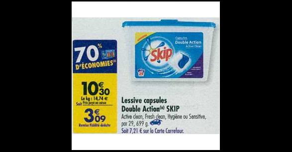 Bon Plan Lessive Skip Capsules chez Carrefour (09/10 - 15/10) - anti-crise.fr