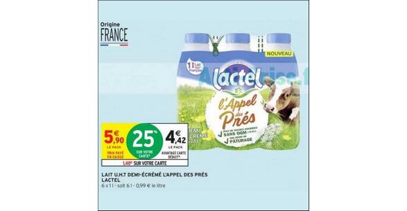 Bon Plan Pack de Lait Lactel L'Appel des Prés chez Intermarché (01/11 - 04/11) - anti-crise.fr