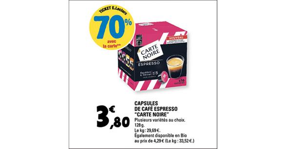 Bon Plan Capsules de Café Espresso Carte Noire chez Leclerc - anti-crise.fr