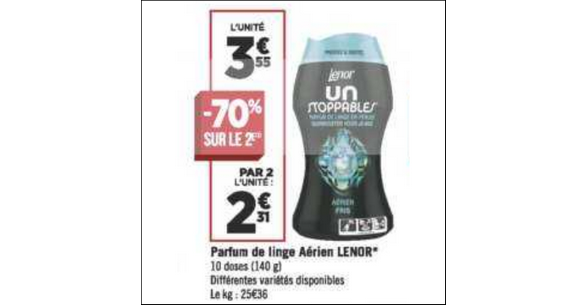 Bon Plan Parfum de Linge Lenor Unstoppables chez Géant Casino - anti-crise.fr