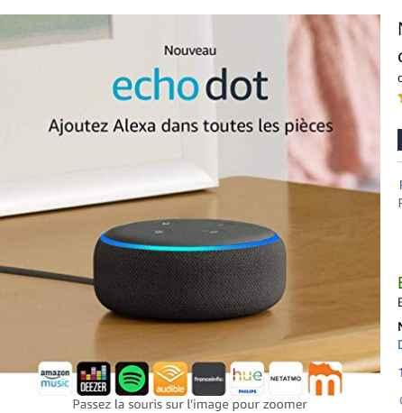 24,99€ l'enceinte connectée Amazon Echo Dot 3eme génération au lieu de 59.99€
