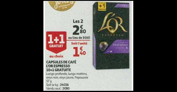Bon Plan Capsules L'or Espresso Compatibles Nespresso chez Auchan (28/11 - 04/12) - anti-crise.fr