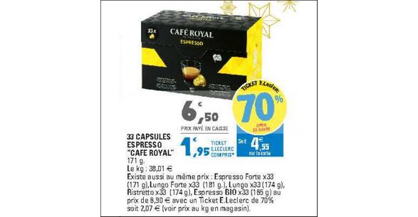 Bon Plan Capsules Café Royal Compatibles Nespresso chez Leclerc Normandie - anti-crise.fr