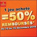Offre de Remboursement Goliath : 50% Remboursés sur 1 Jeu - anti-crise.fr