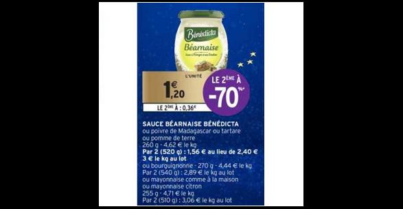 Bon Plan Sauce Benedicta chez Intermarché (18/12 - 31/12) - anti-crise.Fr