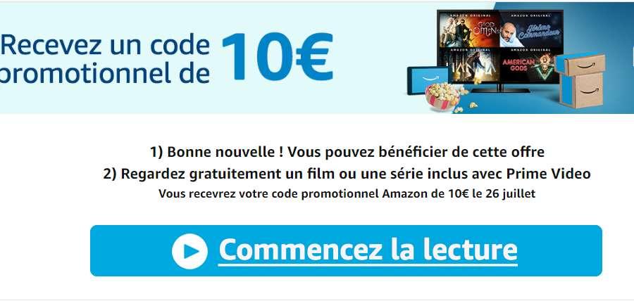 10€ de remise pour 20 d'achats sur Amazon en utilisant Prime Video