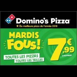 Les mardis fous chez Domino's Pizza : 7,99€ la pizza à emporter !