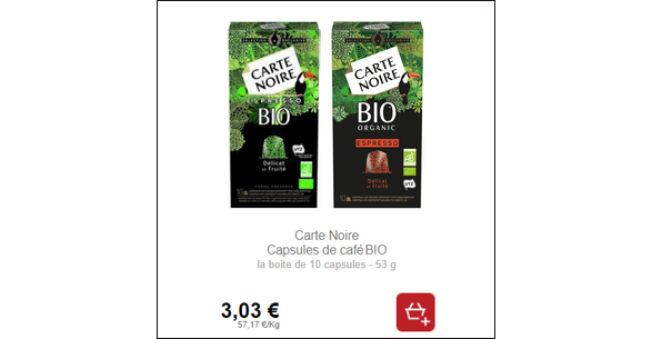 Bon Plan Capsules de Café Espresso ou Lungo Bio Carte Noire chez Intermarché - anti-crise.fr