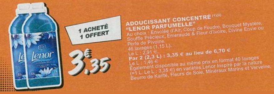Bon Plan Adoucissant Lenor chez Leclerc - anti-crise.fr