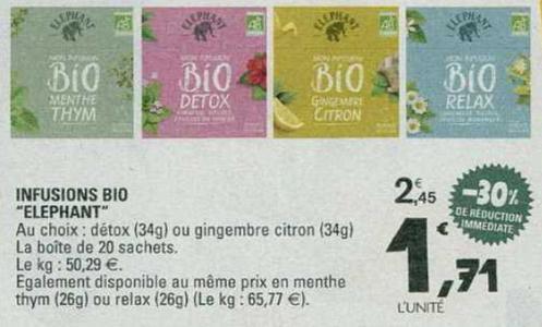 Bon Plan Infusion Bio Elephant chez Leclerc Sud-Ouest et Centre - anti-crise.fr
