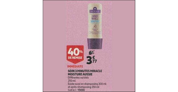 Bon Plan Shampooing et Après-Shampooing 3MM Aussie chez Auchan - anti-crise.fr