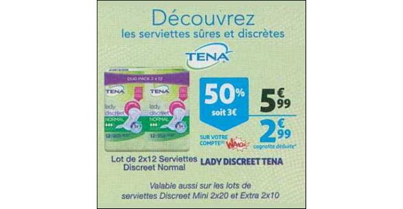 Bon Plan Serviettes Lady Discreet Tena chez Auchan Supermarché - anti-crise.fr