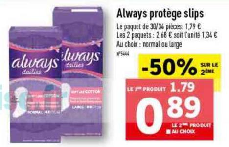 Bon Plan Protèges-Slip Always Dailies chez Lidl (30/01 - 05/02)- anti-crisE.fr