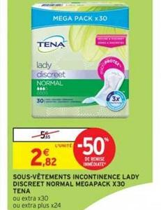 Bon Plan Serviettes Lady Discreet Tena chez Intermarché (22/01 - 27/01) - anti-crise.Fr