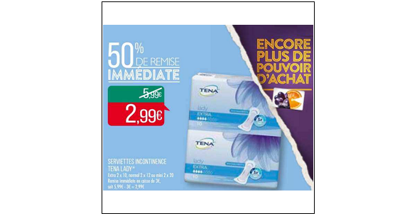 Bon Plan Serviettes Lady Tena chez Match (15/01 - 27/01) - anti-crise.fr
