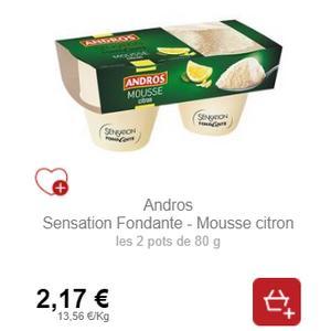 Bon Plan Mousse Sensation Fondante au Citron Andros - anti-crise.fr