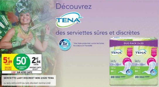 Bon Plan Serviettes Lady ou Discreet Tena chez Intermarché - anti-crise.fr