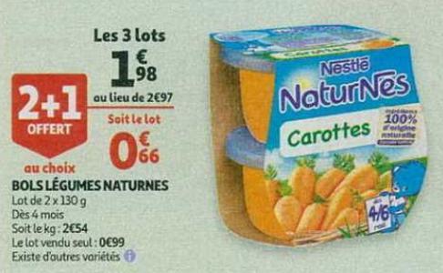 Bon Plan Bols Légumes Naturnes Nestlé chez Auchan - anti-crise.fr
