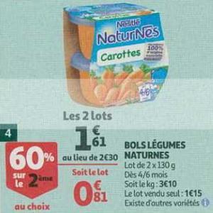 Bon Plan Bols Légumes Naturnes Nestlé chez Auchan Supermarché - anti-crise.fr