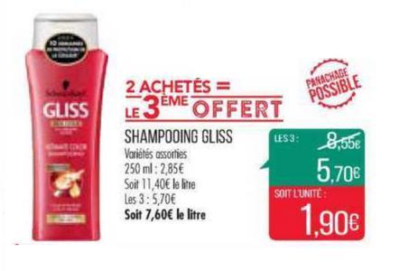 Bon Plan Shampooing Gliss chez Match - anti-crise.fr