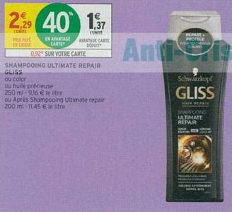 Bon Plan Shampooing ou Après-Shampooing Gliss chez Intermarché - anti-crise.fr