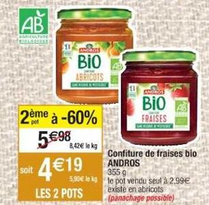 Bon Plan Confiture Bio Andros chez Cora (19/02 - 25/02) - anti-crise.fr